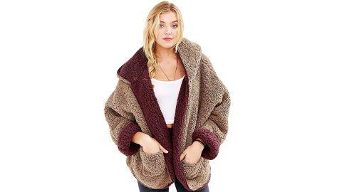 Persun Women's Fleece Hooded Sherpa Jacket