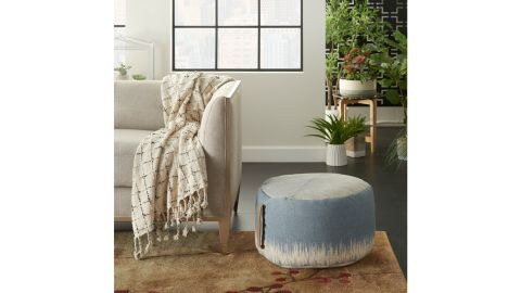 Bungalow Rose Mika 20-Inch Round Abstract Pouf Ottoman