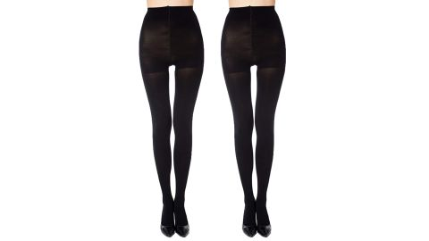 Manzi Run-Resistant Control Top Opaque Tights, 2-Pack