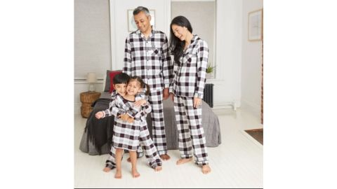 Holiday White Plaid Flannel Matching Family Pajamas Collection