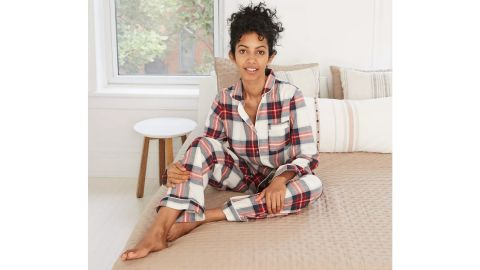 Stars Above Women's Plaid Perfectly Cozy Flannel Long-Sleeve Notch Collar Top and Pants
