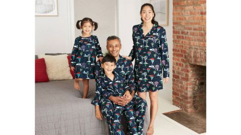 Holiday Hot Air Balloon Print Flannel Matching Family Pajamas Collection