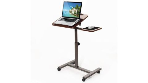 """Seville Classics 27.8"""" Tilting Sit-Stand Height Adjustable Mobile Laptop Computer Desk Cart with Mouse Side Ergonomic Table"""