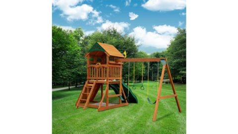 Gorilla Playsets DIY Outing III Wooden Playset With Wood Roof, 2 Wave Slides and Sandbox Area