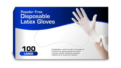 Disposable Latex Gloves, 100-pack