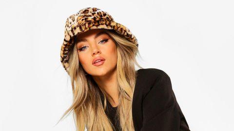 Boohoo Faux Fur Leopard Bucket Hat