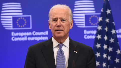 US Vice President Joe Biden speaks while meeting with European Union President on February 6, 2015 at the EU Headquarters in Brussels. Ukraine is battling to survive in the face of escalating Russian involvement and needs the EU and US to stand together, Biden said during a visit to Brussels. AFP PHOTO / EMMANUEL DUNAND (Photo by Emmanuel DUNAND / AFP) (Photo by EMMANUEL DUNAND/AFP via Getty Images)