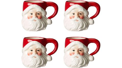 Cosmos Gifts Ceramic Santa Heads Mugs, Set of Four