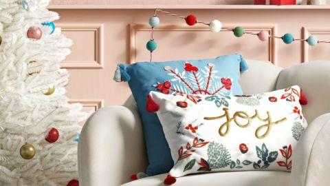 Opalhouse Holiday Embellished Joy Lumbar Throw Pillow