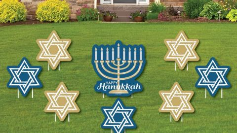 Big Dot of Happiness Happy Hanukkah Yard Sign and Outdoor Lawn Decorations
