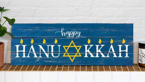 I Custom Wine Wooden Hanukkah Sign
