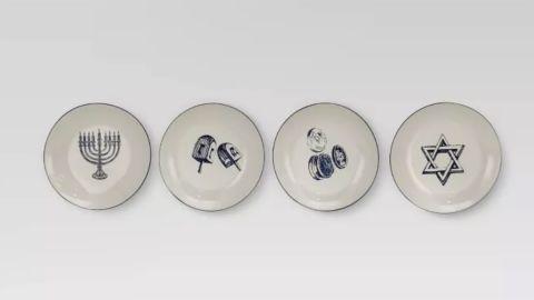 Threshold Set of 4 Round Hanukkah Stoneware Ceramic Plates in Off-White