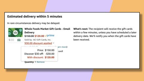 Take $30 off your grocery bill by buying a gift card to Whole Foods and applying this Discover offer.
