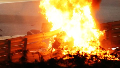 BAHRAIN, BAHRAIN - NOVEMBER 29: A fire is pictured following the crash of Romain Grosjean of France and Haas F1 during the F1 Grand Prix of Bahrain at Bahrain International Circuit on November 29, 2020 in Bahrain, Bahrain. (Photo by Bryn Lennon/Getty Images)