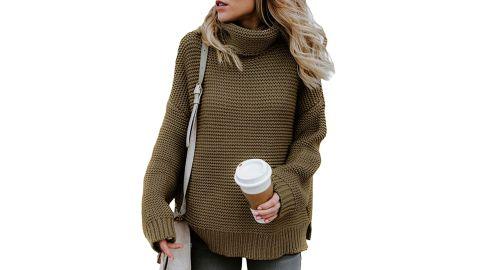 Asvivid Women's Turtleneck Chunky Knit Sweater