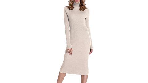Rocorose Turtleneck Long Sleeve Knitted Sweater Dress