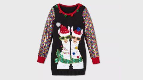 33 Degrees Llama Sequin Graphic Pullover Sweater