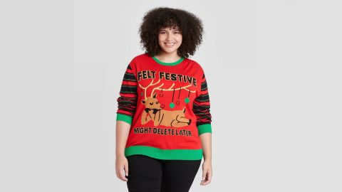 Mighty Fine Striped Reindeer Felt Festive Might Delete Later Holiday Pullover Sweater
