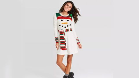 Born Famous Ugly Holiday Snowman Long-Sleeve Graphic Dress
