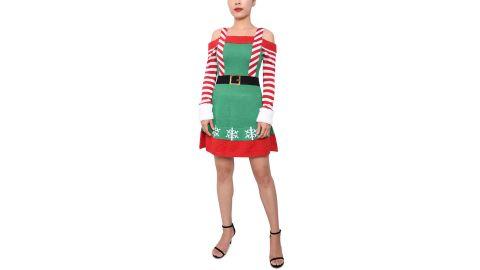 Planet Gold Elf Cold-Shoulder Sweater Dress