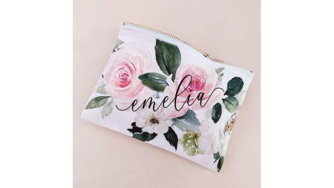 Custom Floral Makeup Bag