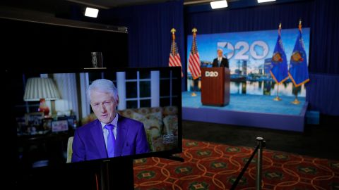 Clinton delivers a speech during the Democratic National Convention in August 2020.