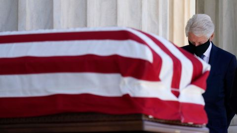 Clinton pays his respects to Supreme Court Justice Ruth Bader Ginsburg in September 2020. Ginsburg was appointed to the high court by Clinton in 1993.