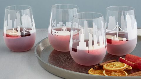 Uncommon Goods Etched Skyline Wine Glass