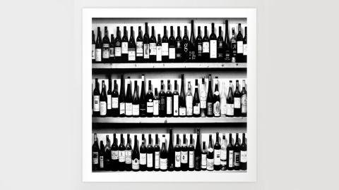 Society6 Wine Bottles in Black-and-White Print