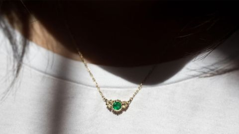 Catbird Emerald Diamond Twinkle Necklace