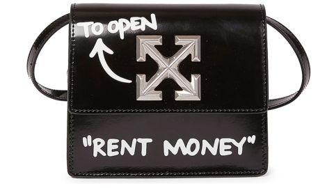 Off White Mini Jitney 0.7 Rent Money Leather Crossbody Bag