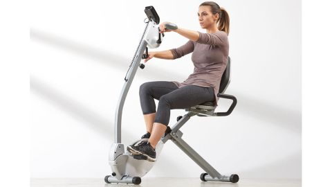 Space Saving Recumbent Exercise Bike with Upper Body Motion