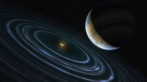 This massive and distant exoplanet, called HD106906 b, has an elongated and angled orbit that causes it to take 15,000 Earth years to complete one lap around its twin stars.