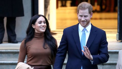 Prince Harry, Duke of Sussex and Meghan, Duchess of Sussex depart Canada House on January 07, 2020 in London, England.