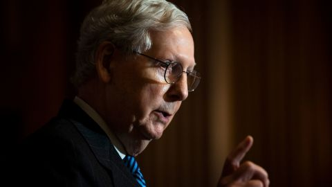 WASHINGTON, DC - DECEMBER 15: Senate Majority Leader Mitch McConnell (R-KY) conducts a news conference in the U.S. Capitol after the Senate Republican Policy luncheon on December 15, 2020 in Washington, DC. (Photo by Caroline Brehman-Pool/Getty Images)