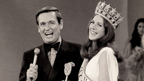 Barker and Miss Illinois Amanda Jones are seen after Jones won the 1973 Miss USA Pageant. Barker hosted the Miss USA and Miss Universe pageants from 1966 to 1987. He resigned after pageant officials refused to stop giving fur coats as awards.