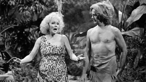 """White plays Jane opposite Johnny Carson in a Tarzan skit for """"The Tonight Show"""" in 1981."""