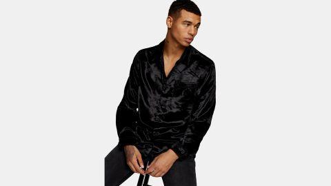 Topman Slim Fit Velvet Shirt