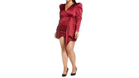 Lavish Alice Plus-Size Long-Sleeve Satin Minidress