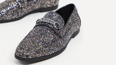 Asos Design Loafers in Black Glitter With Snaffle Detail