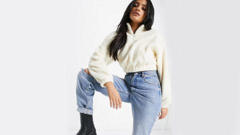 Bershka Half Zip Fleece Sweatshirt