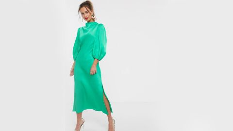 Asos Design Cowl Neck Satin Tea Midi Dress With Puff Sleeve