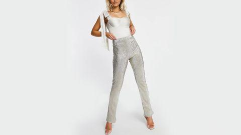 Asos Design Jersey Sparkle Kick Flare Pants