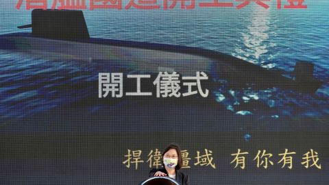 Taiwan President Tsai Ing-wen attends a ceremony for the production of domestic-made submarines at a CSBC shipyard in Kaohsiung on November 24, 2020.