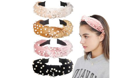 Allucho Faux Pearl Velvet Headband, 4-Pack