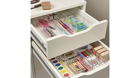 Stori Clear Plastic Vanity and Desk Drawer Organizers, 6-Piece Set