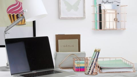 Dotted Line Amanda Wire Metal 5 in 1 Desk Organizer Set