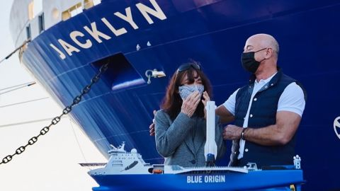 """In December 2020, Bezos <a href=""""https://www.instagram.com/p/CJaEh_NHGUN/"""" target=""""_blank"""" target=""""_blank"""">posted this photo</a> of him and his mother, Jacklyn, after Blue Origin's rocket-catching recovery boat was named in her honor."""