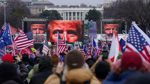 Trump supporters participate in a rally near the White House.