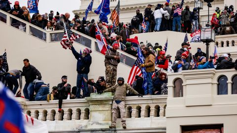 Pro-Trump supporters storm the US Capitol following a rally with President Donald Trump on January 6, 2021, in Washington, DC.